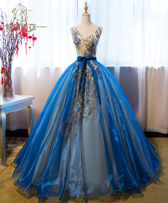 Royal blue v neck lace applique long prom dress, blue evening dress
