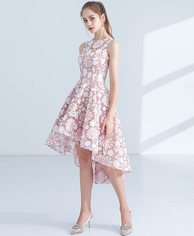 Unique Pink high low prom dress, homecoming dress