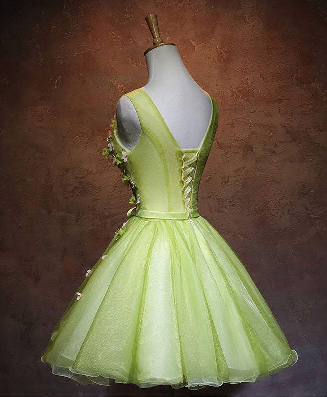 Green v neck tulle short prom dress, green homecoming dress