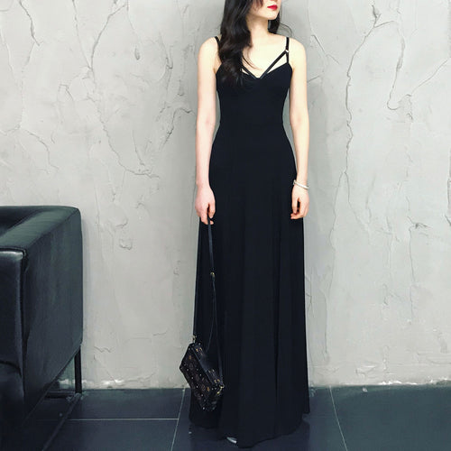 b13e9efb71 Black chiffon long prom dress