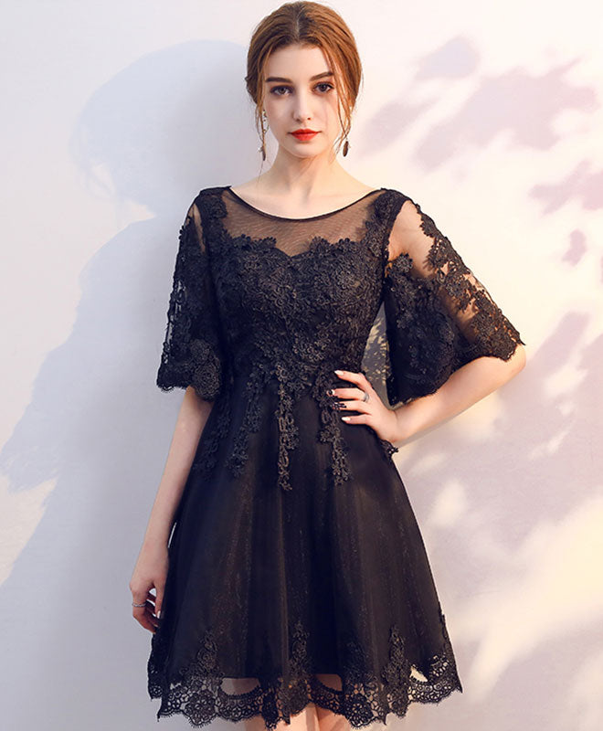 Black round neck tulle lace short prom dress, homecoming dress