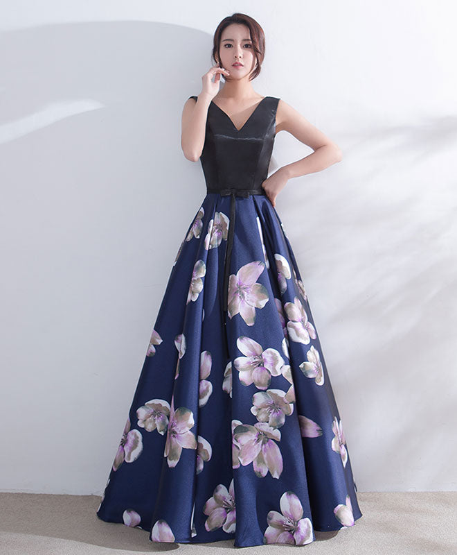Dark blue v neck satin long prom dress, dark blue evening dress