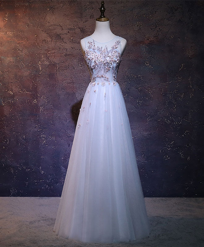 ae299b0bc8 A-line light blue tulle lace applique long prom dress