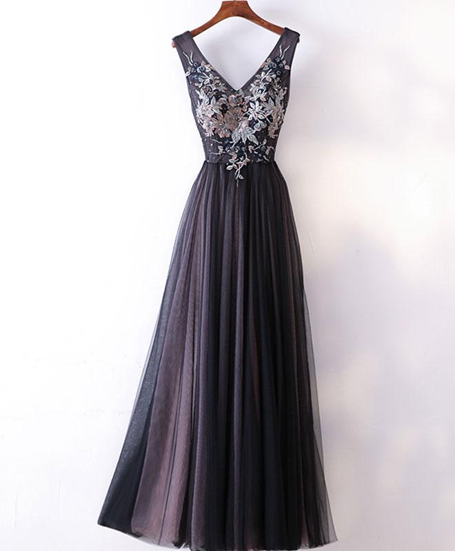 Black v neck lace applique tulle long prom dress, black evening dress
