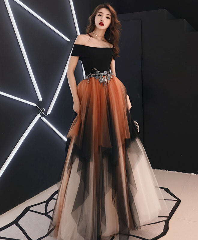 Simple tulle lace long prom dress, tulle formal dress