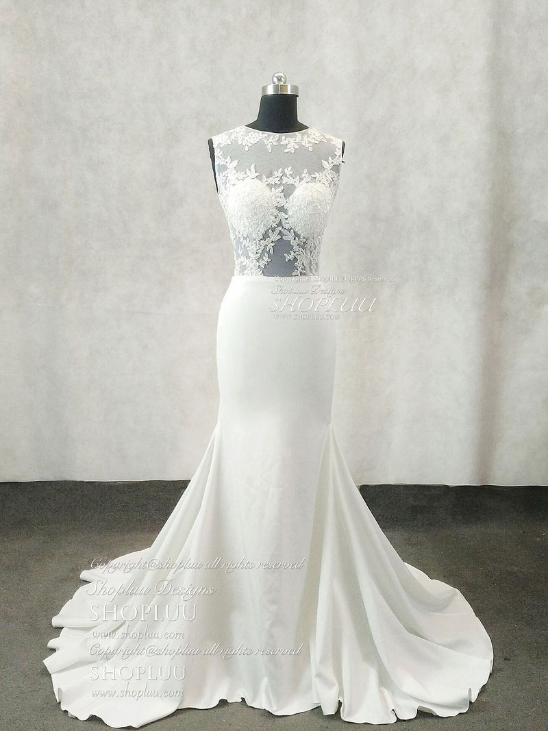 White round neck lace applique mermaid long prom dress, white evening dress