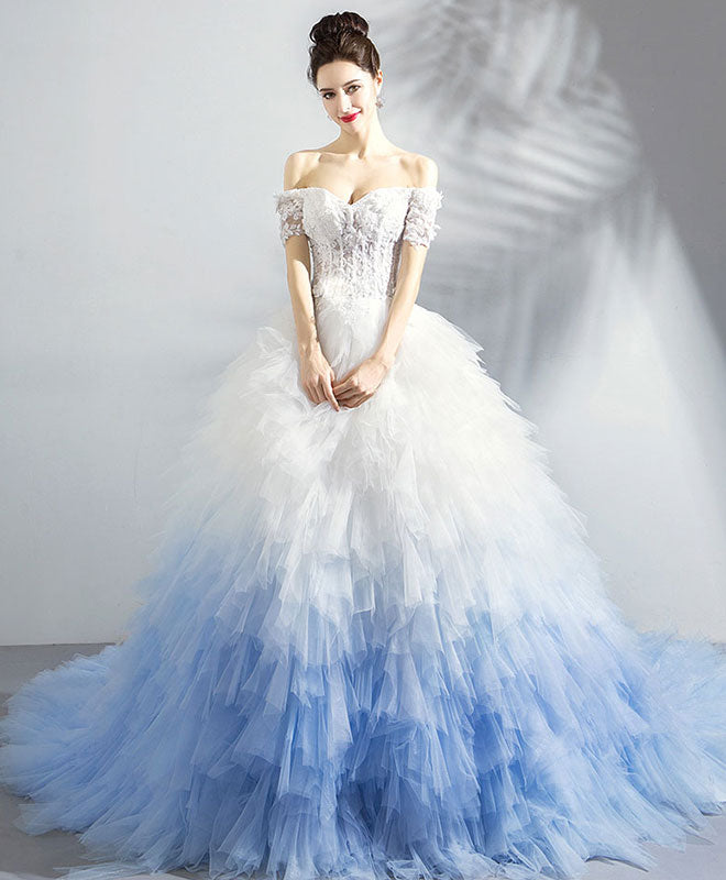 Unique sweetheart tulle blue long prom dress, blue evening dress