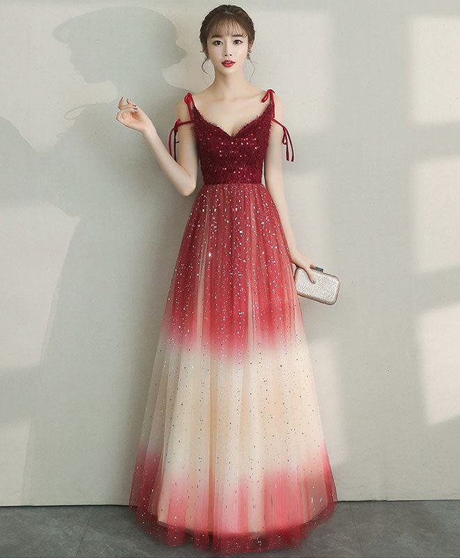 Unique tulle burgundy long prom dress, burgundy tulle evening dress