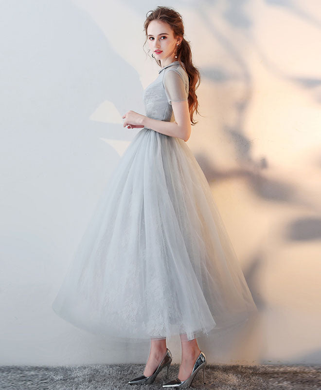 Gray high neck tulle lace prom dress tulle lace evening dress