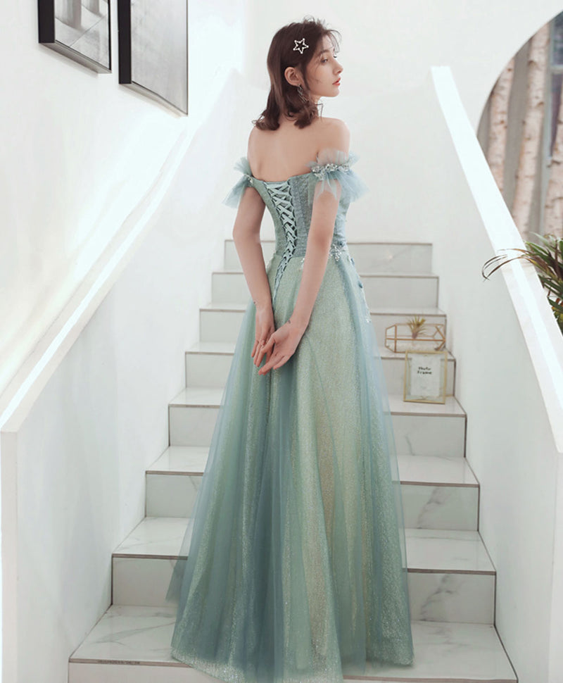 Green tulle  lace long prom dress green tulle formal dress