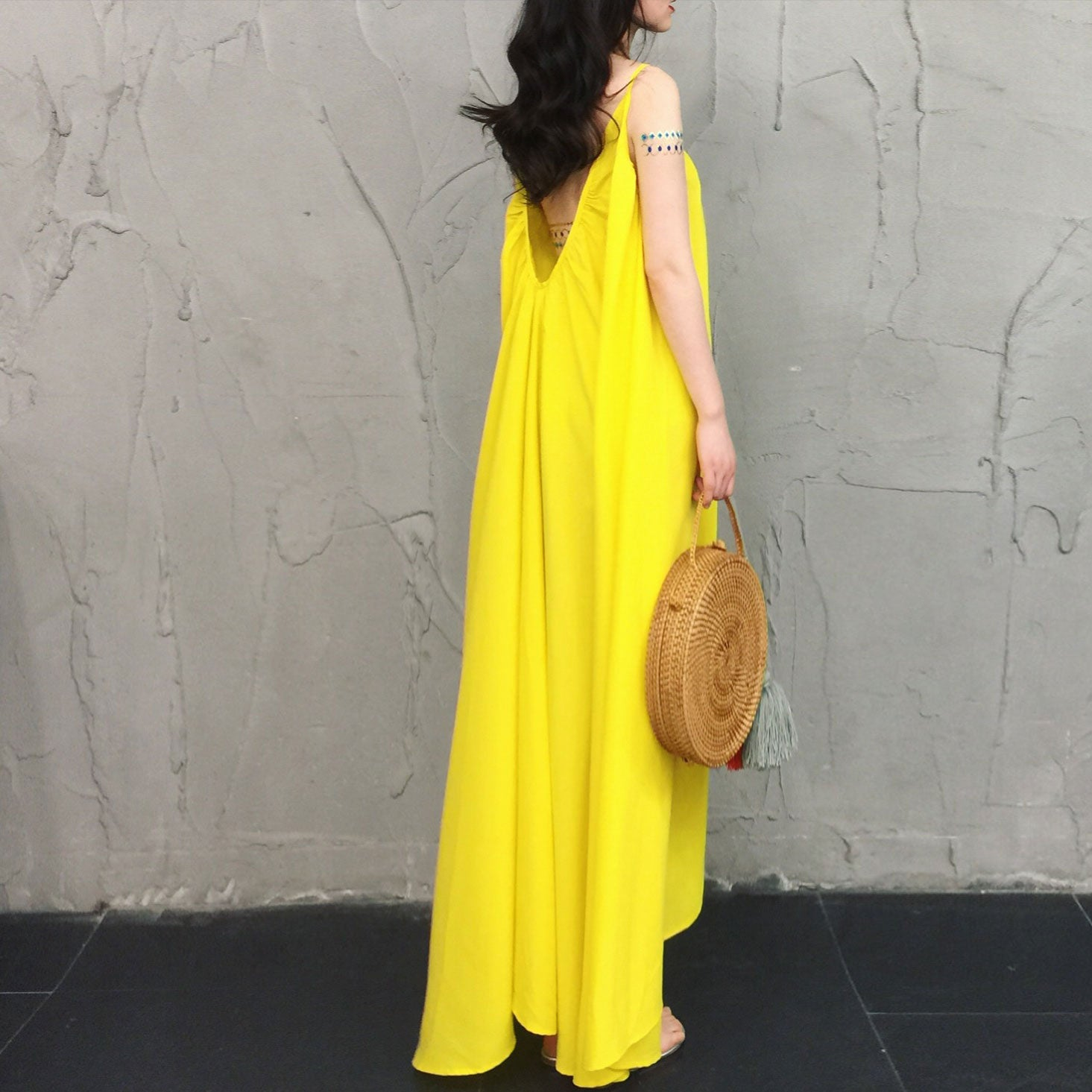 Yellow chiffon cute fashion dress, summer dress