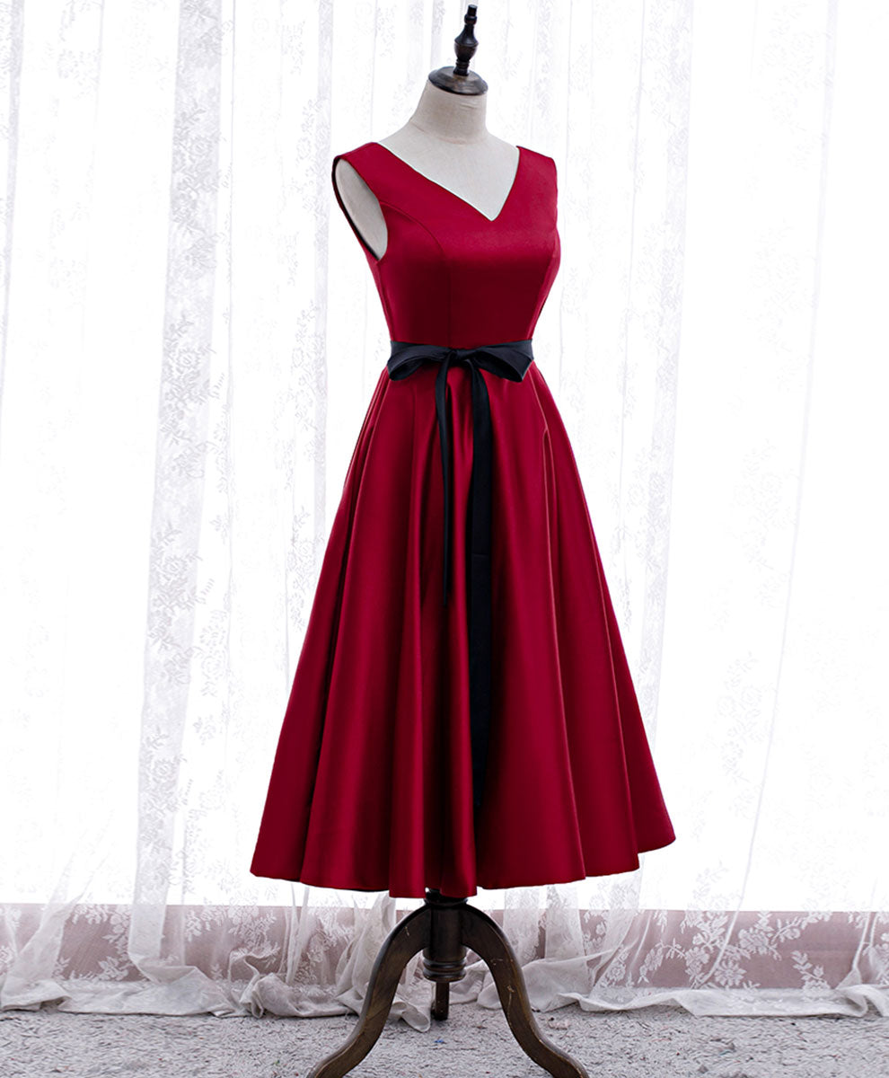 Simple v neck satin burgundy short prom dress bridesmaid dress