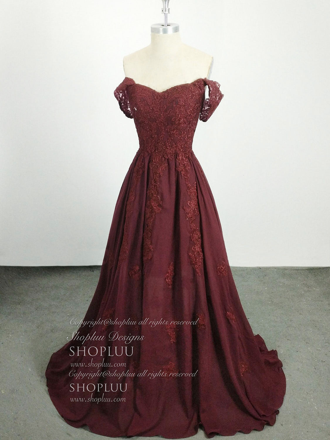 Burgundy lace chiffon off shoulder long prom dress, lace bridesmaid dress