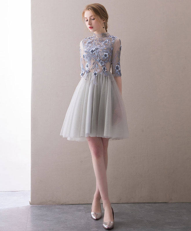 Gray high neck lace applique short prom dress, gray homecoming dress