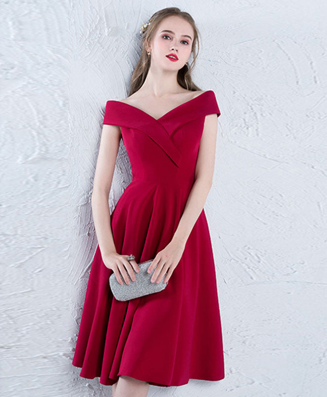 Burgundy off shoulder satin prom dress, burgundy homecoming dress