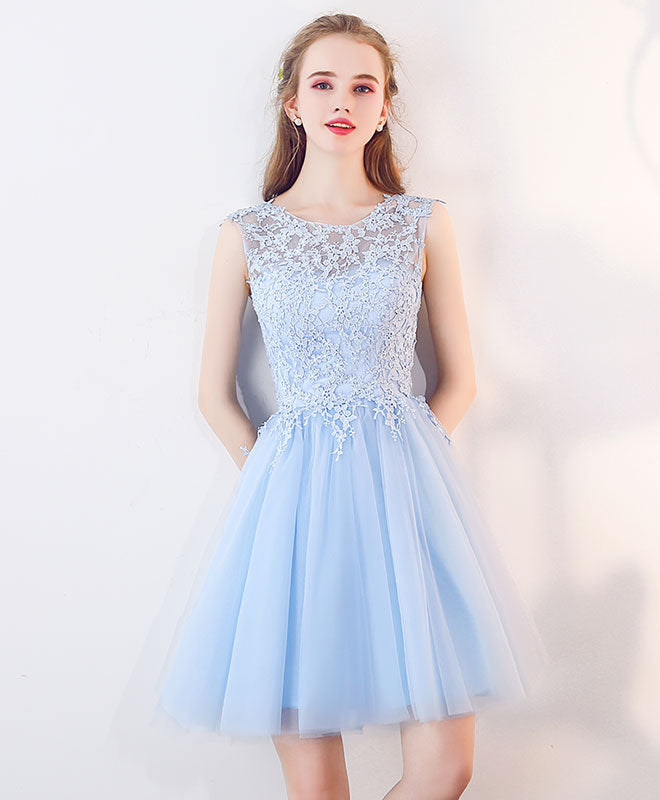 e1291c888108 Cute blue tulle lace short prom dress