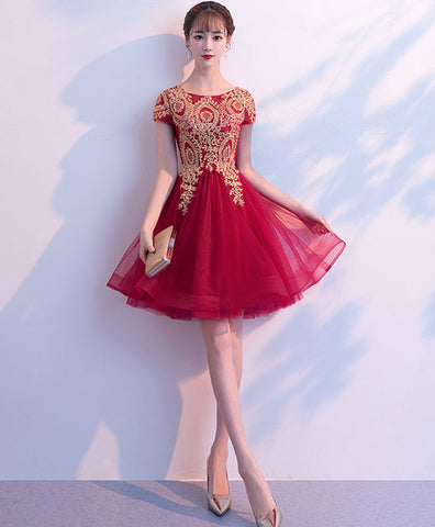 Pink tulle lace applique short prom dress, pink homecoming dress