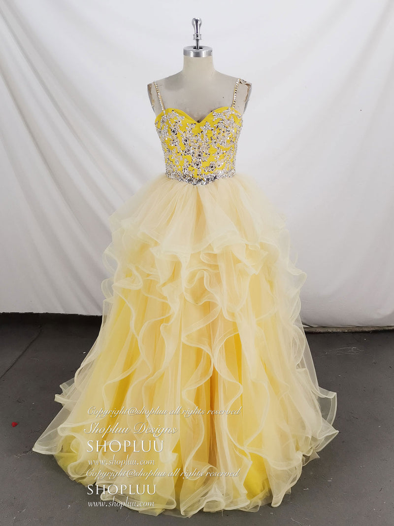 Yellow sweetheart tulle beads sequin long prom dress evening dress