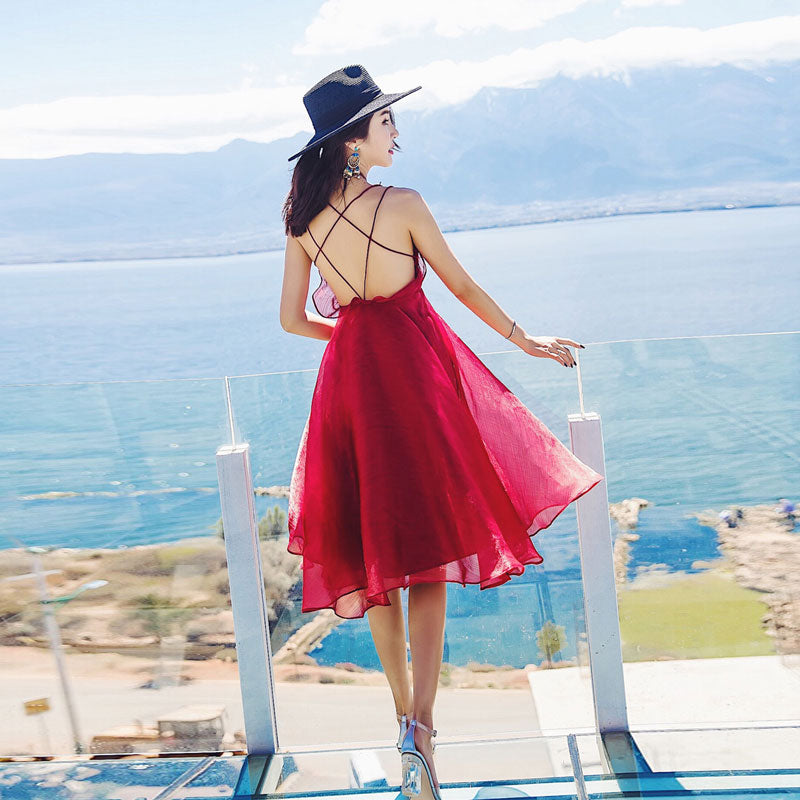 Cute red backless chiffon short fashion dress, red summer dress