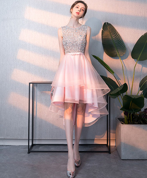 Pink tulle sequin short prom dress, pink homecoming dress