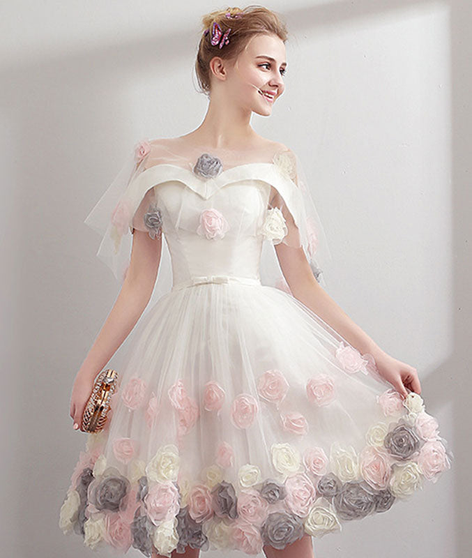 Cute sweetheart tulle short prom dress, tulle homecoming dress