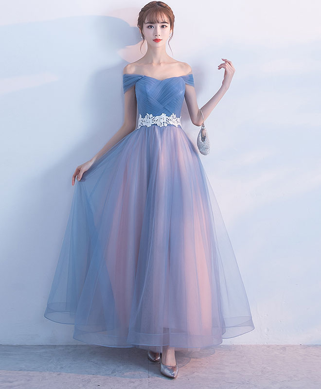Gray blue tulle long prom dress, gray tulle bridesmaid dress