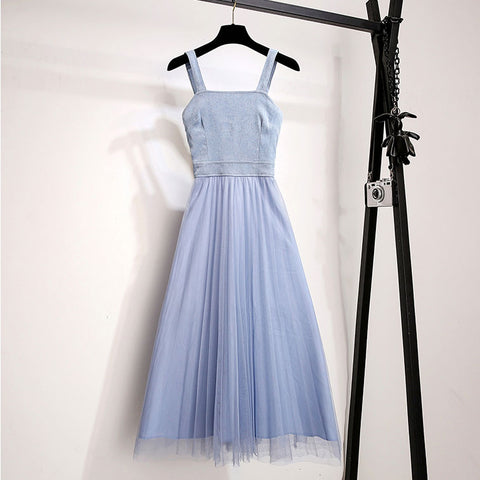Gray blue v neck tulle long women fashion dress, blue evening dress