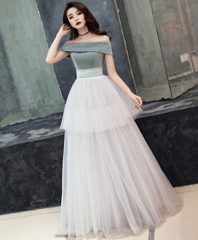 White tulle long prom dress, white tulle formal dress
