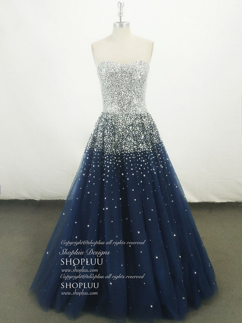 Dark blue tulle sequin long prom dress, blue tulle evening dress