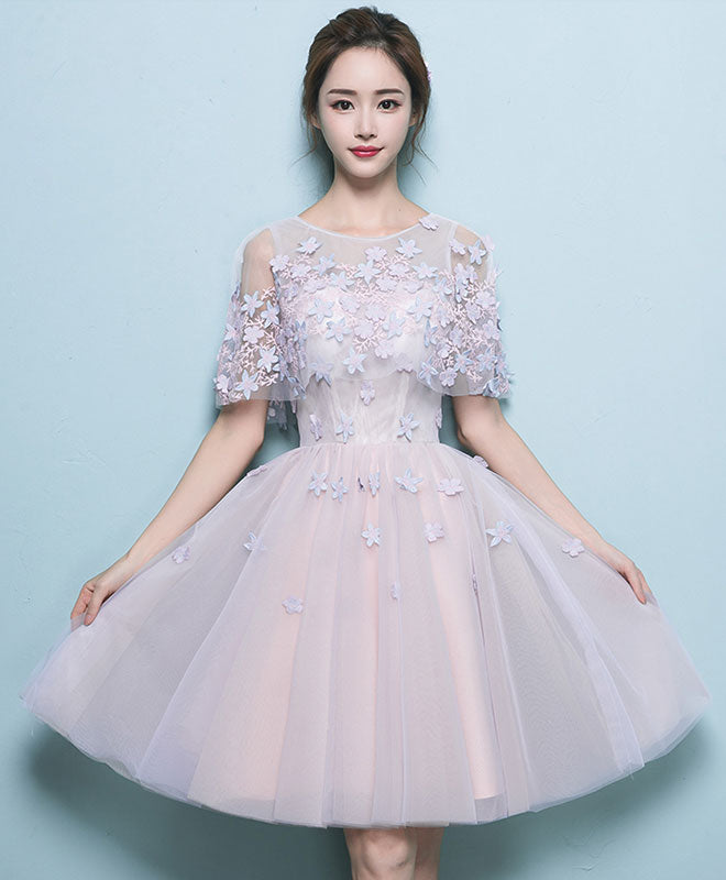 Simple tulle lace short prom dress, tulle evening dress