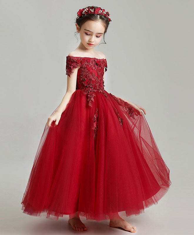 Burgundy tulle lace flower girl dress, burgundy girl party dress