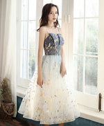 Blue tulle lace short prom dress blue tulle cocktail dress