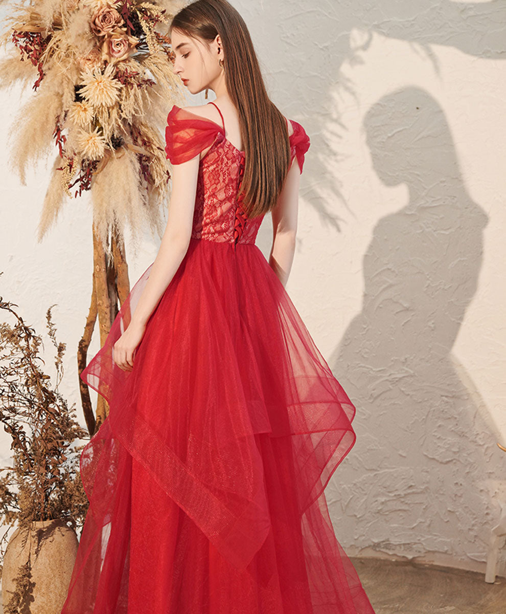 Red v neck tulle off shoulder long prom dress red formal dress