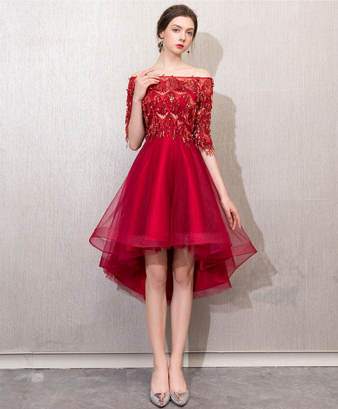 Burgundy tulle lace short prom dress, burgundy tulle homecoming dress