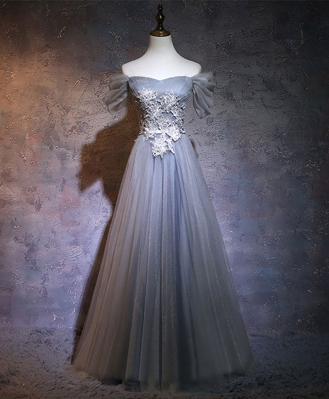 Gray A-line tulle lace applique long prom dress, gray bridesmaid dress