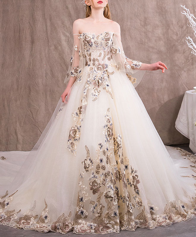Unique sweetheart tulle lace applique long wedding dress, evening dress