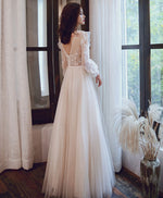 Light champagne tulle lace long prom dress lace tulle formal dress