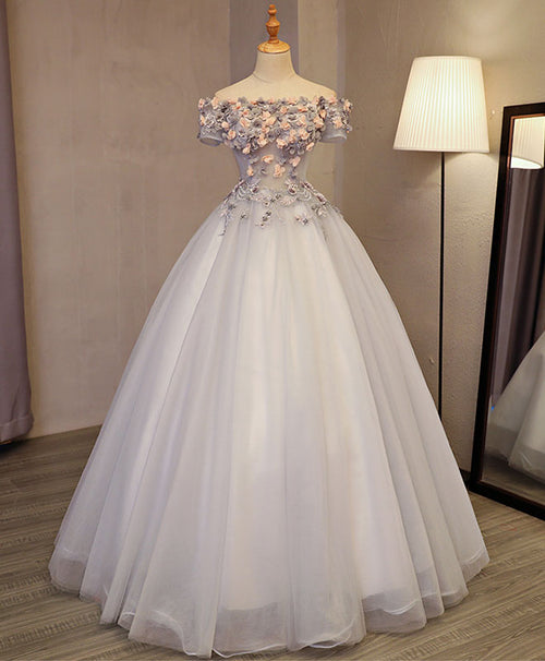 Gray tulle applique long prom gown, gray evening dress