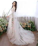 White v neck tulle lace applique long prom dress, white evening dress