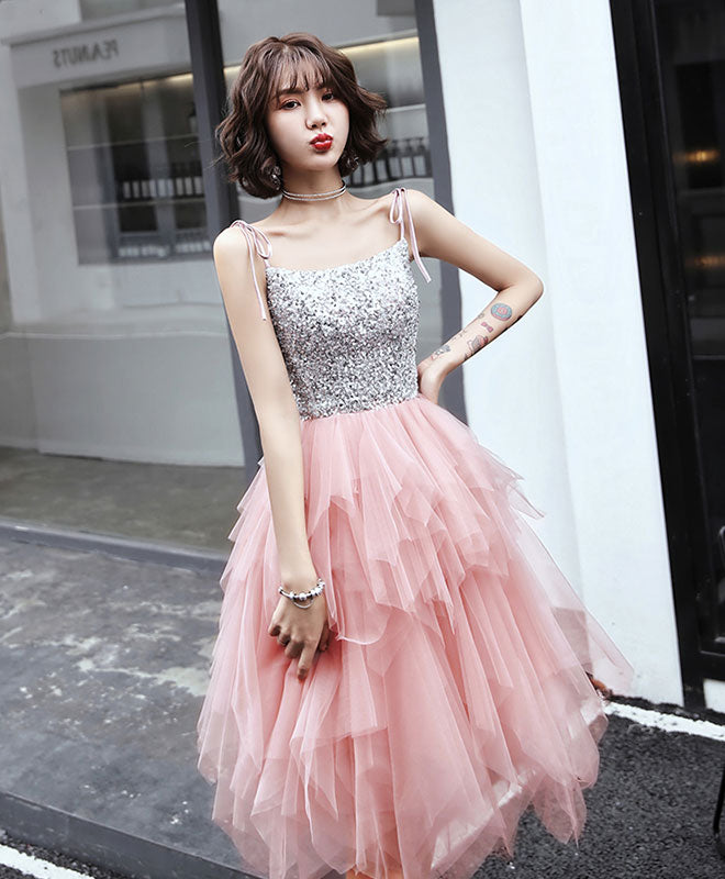 Pink tulle sequin short prom dress, pink tulle homecoming dress