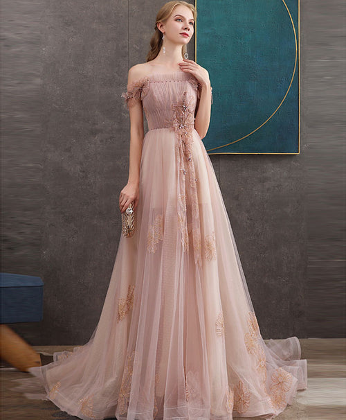 Pink tulle lace long prom dress pink lace evening dress