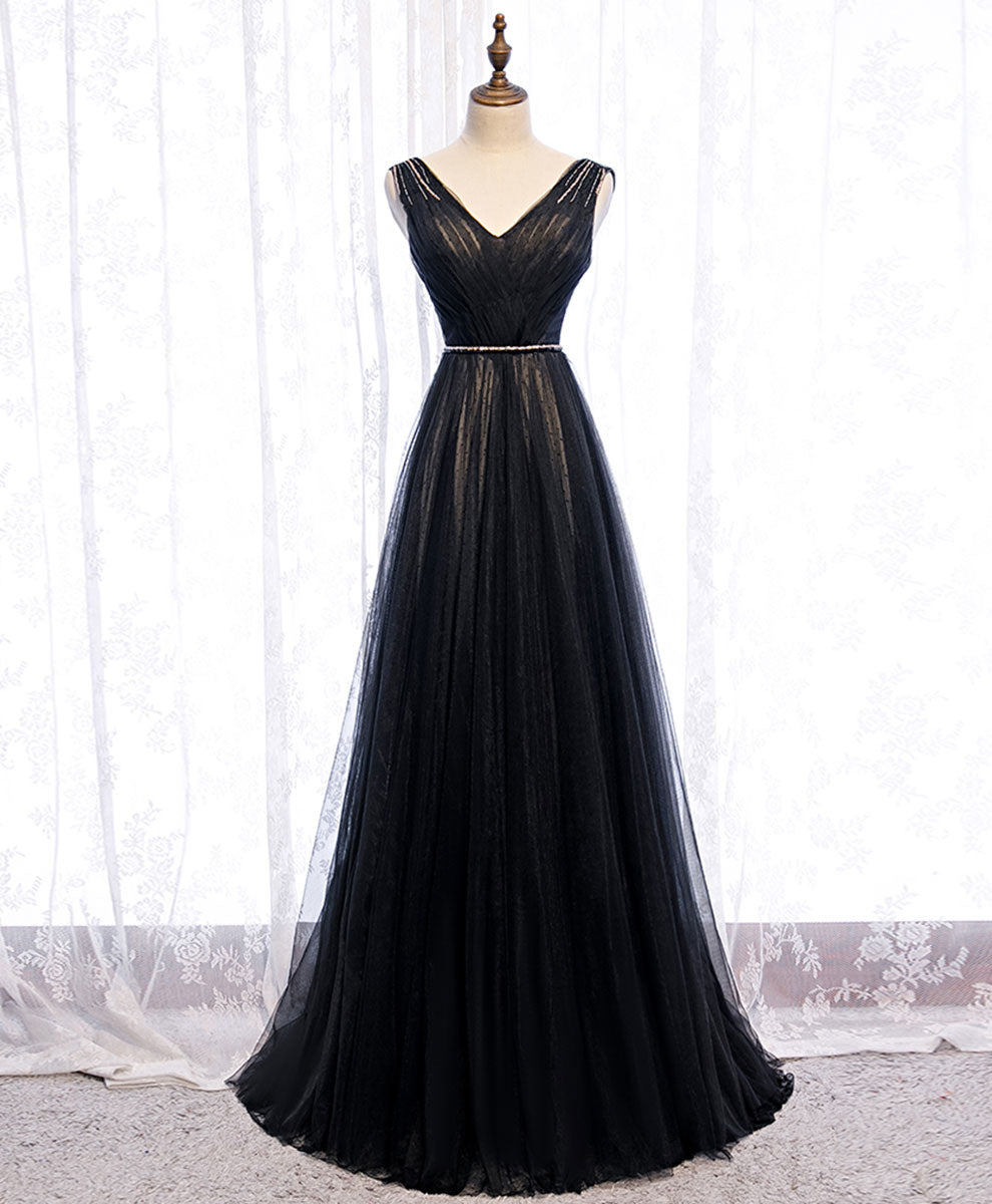 Black v neck tulle lace long prom dress black evening dress