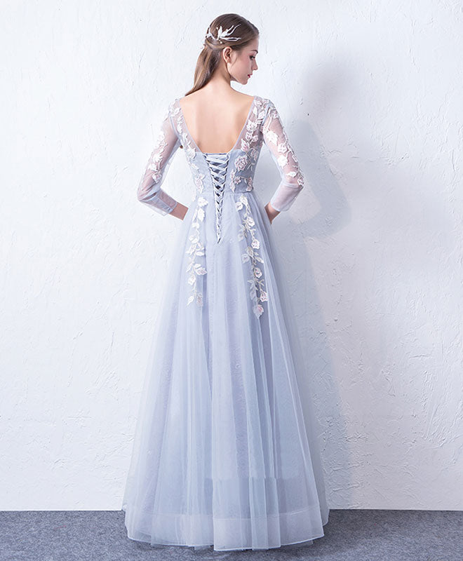 faebc7d87ba3d Gray blue cute round neck lace applique tulle long prom dress, evneing dress