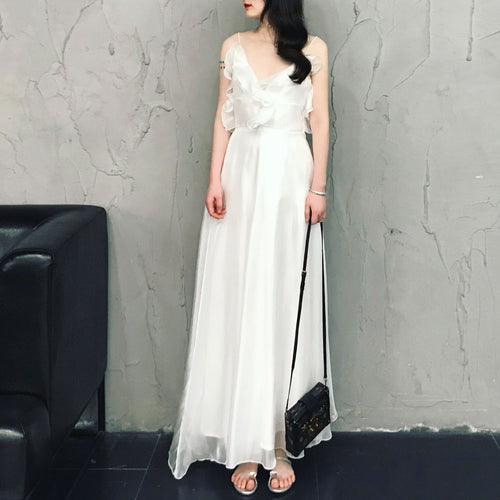 White beach long dress, white party prom dress
