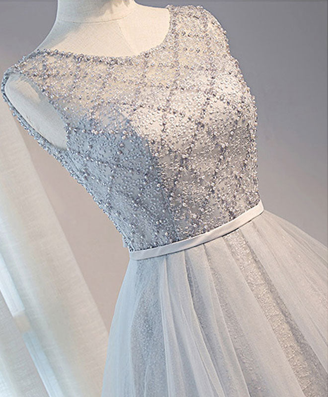 Gray tulle beads short prom dress, gray homecoming dress