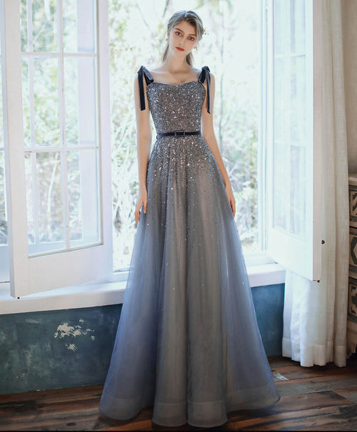 Blue sweetheart tulle sequin long prom dress blue formal dress