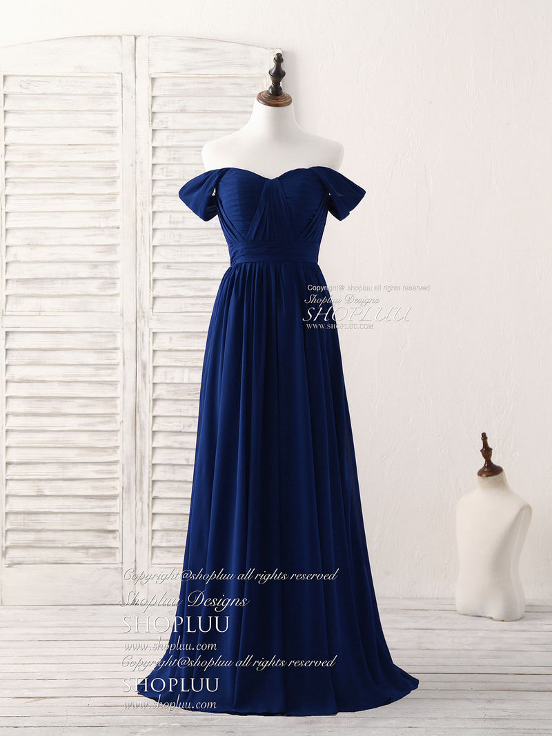 Dark blue sweetheart chiffon long prom dress, dark blue bridesmaid dress