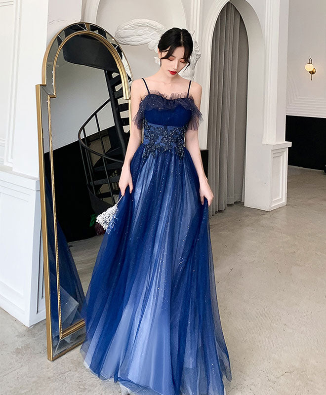 Blue sweetheart tulle lace long prom dress blue tulle formal dress