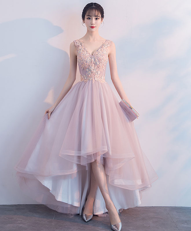 4a829261212 Cute v neck light pink tulle lace prom dress