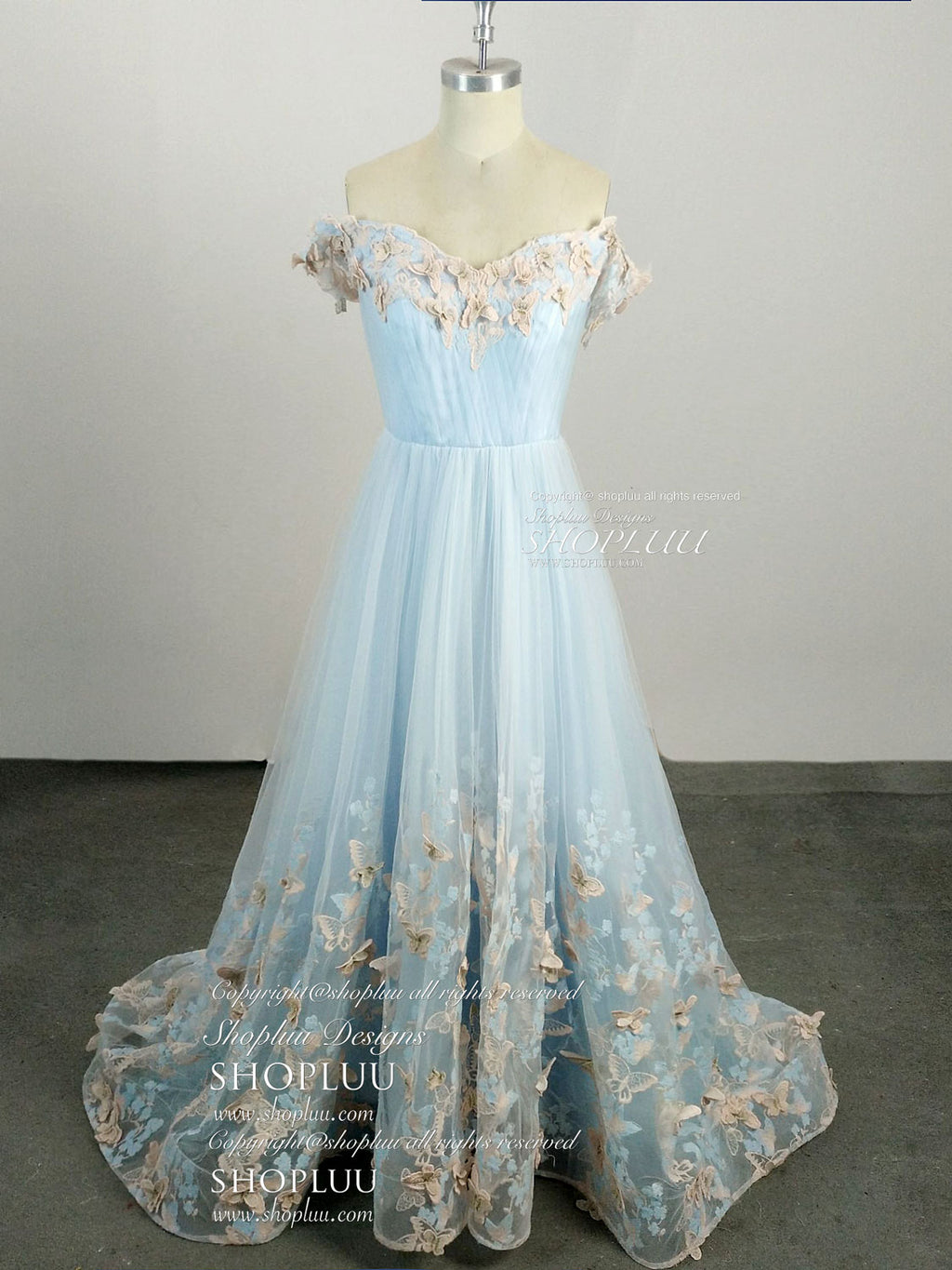 Blue sweetheart neck tulle lace applique blue long prom dress, blue evening